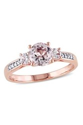 10K Rose Gold Faceted Morganite Created White Sapphire And Diamond Ring Orange