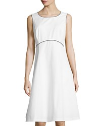 Lafayette 148 New York Shawn Contrast Trim A Line Dress White Black