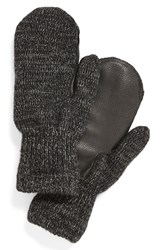 Men's Upstate Stock 'Ragg' Wool Blend Knit Mittens With Deerskin Leather Trim Black Balck Black