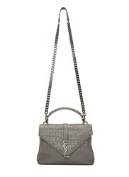 Saint Laurent Classic Medium College Faux Crocodile Handbag Grey