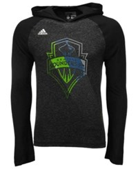 Adidas Men's Long Sleeve Seattle Sounders Fc Aerofade Hooded T Shirt Black