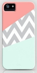 Amazon.Com Evermarket Tm Mint And Coral Chevron Block On Case For Apple Iphone 6 4.7 Inch Plastic Cover Includes Screen Protector And Cleaning Cloth Cell Phones And Accessories