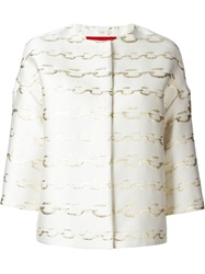 Moncler Gamme Rouge Chain Link Print Jacket White