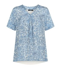 Max Mara Maxmara Weekend Floral Silk Front Top Female Blue