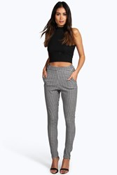 Boohoo Monochrome Gingham Skinny Trousers Multi