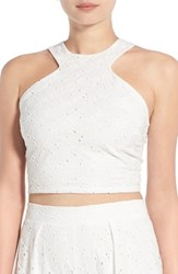 Women's Painted Threads Crop Eyelet Tank