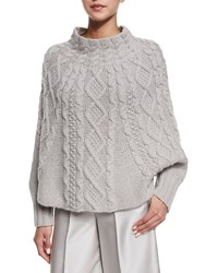 Co Cable Knit Long Sleeve Poncho Gray
