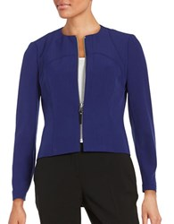 Nipon Boutique Exposed Zipper Crepe Jacket Grape