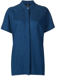 Zero Maria Cornejo Band Collar Boxy Shirt Blue