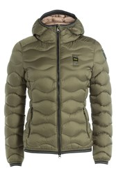 Blauer Wave Quilted Down Jacket With Hood Green