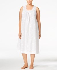 Charter Club Plus Size Lace Trimmed Embroidered Nightgown Only At Macy's Bright White