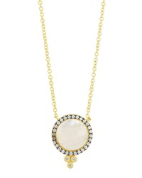 Freida Rothman 14K Vermeil Pave Mother Of Pearl Pendant Necklace Gold