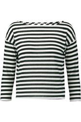Milly Striped Cotton Blend Jersey Top Black