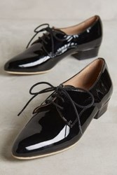 Anthropologie Kmb Lucy Heeled Oxfords Black Patent