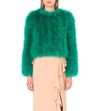 Alexander Mcqueen Feather Embellished Silk Jacket Jade Green