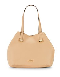 Calvin Klein Pebbled Leather Tote Nude