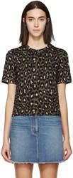 Marc By Marc Jacobs Gold And Brown Knit Leopard T Shirt