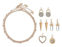 Guess Metal Choker Trio With 5 Interchangeable Charms Necklace Gold Crystal Necklace