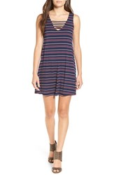 Socialite Women's 'Serena' Strappy Tank Dress Navy Dusty Pink Plum Stripe