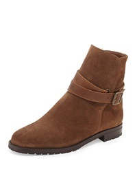 Manolo Blahnik Sulgamba Suede Moto Boot Medium Brown