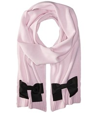Kate Spade Muffler With Grosgrain Bow Orchid Frost Black Scarves Pink