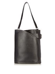 Hillier Bartley Cigar Leather Bucket Bag Black Grey