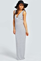 Boohoo Harriet Plunge Striped Jersey Maxi Dress Ivory
