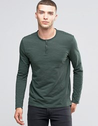 Sisley Henley Long Sleeve Top In Slub Fabric Green 1P3