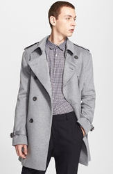 Burberry 'Britton' Double Breasted Trench Coat Pale Grey Melange