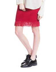 Plenty By Tracy Reese Fitted Knit Fringe Skirt Poppy