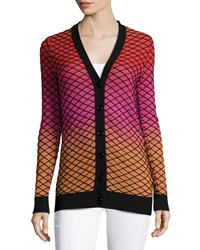 M Missoni Diamond Pattern Ombre Cardigan Black Multi