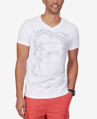 Nautica Men's Knot Graphic Print V Neck T Shirt Bright White