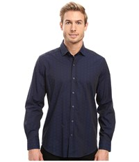 Robert Graham Deven Long Sleeve Sport Shirt Navy Men's Clothing