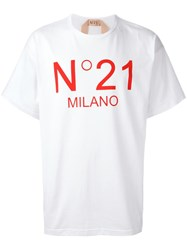 N 21 No21 Logo Print T Shirt White