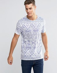 Asos T Shirt With Distressed Aztec Print Blue