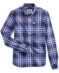 Superdry Men's Plaid Button Down Long Sleeve Shirt Electric Navy Window Pane