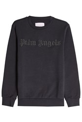 Palm Angels Cotton Sweatshirt With Embellished Logo Black