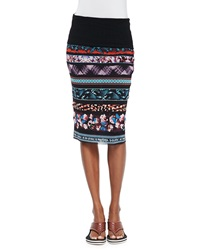 Jean Paul Gaultier Printed Striped Tube Skirt Blue Multi