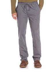 Hanro Striped Woven Cotton Pajama Pants Green Navy