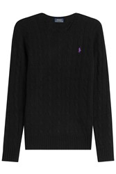 Polo Ralph Lauren Merino Wool Cable Knit Pullover Black