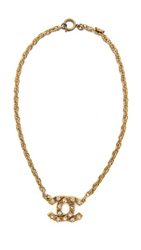 Wgaca Vintage Chanel Rhinestone Cc Necklace Gold Clear
