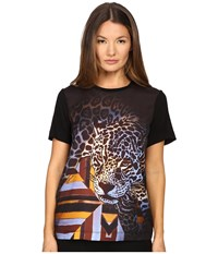 Just Cavalli Leopard Geo Print Tee W Silk Panel Multi Women's Blouse