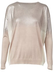 Avant Toi Degrade Boat Neck Relaxed Fit Jumper Nude And Neutrals
