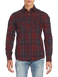 Affliction Bound For Glory Plaid Sportshirt Red