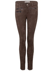 Oui Suedette Trousers Chocolate