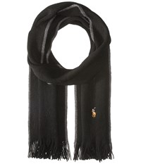 Polo Ralph Lauren Classic Lux Merino Wool Scarf Black Scarves