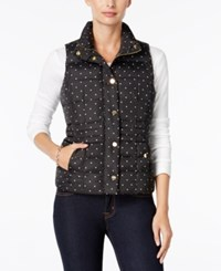 Charter Club Petite Dot Print Quilted Vest Only At Macy's Deep Black Combo
