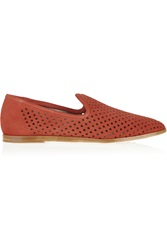 Pedro Garcia Yasmin Perforated Suede Loafers Red