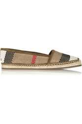 Burberry Woven Leather And Canvas Espadrilles