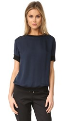 Vince Contrast Trim Silk Tee Coastal Black